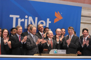 Burton M. Goldfield, president and CEO of TriNet rings the opening bell at The New York Stock Exchange.