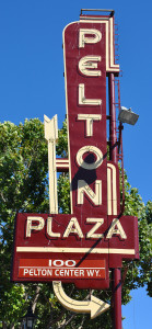 Pelton Plaza sign