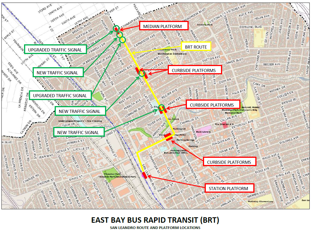 The East Bay Bus Rapid Transit Line Breaks Ground San Leandro Next - Map san francisco bus routes