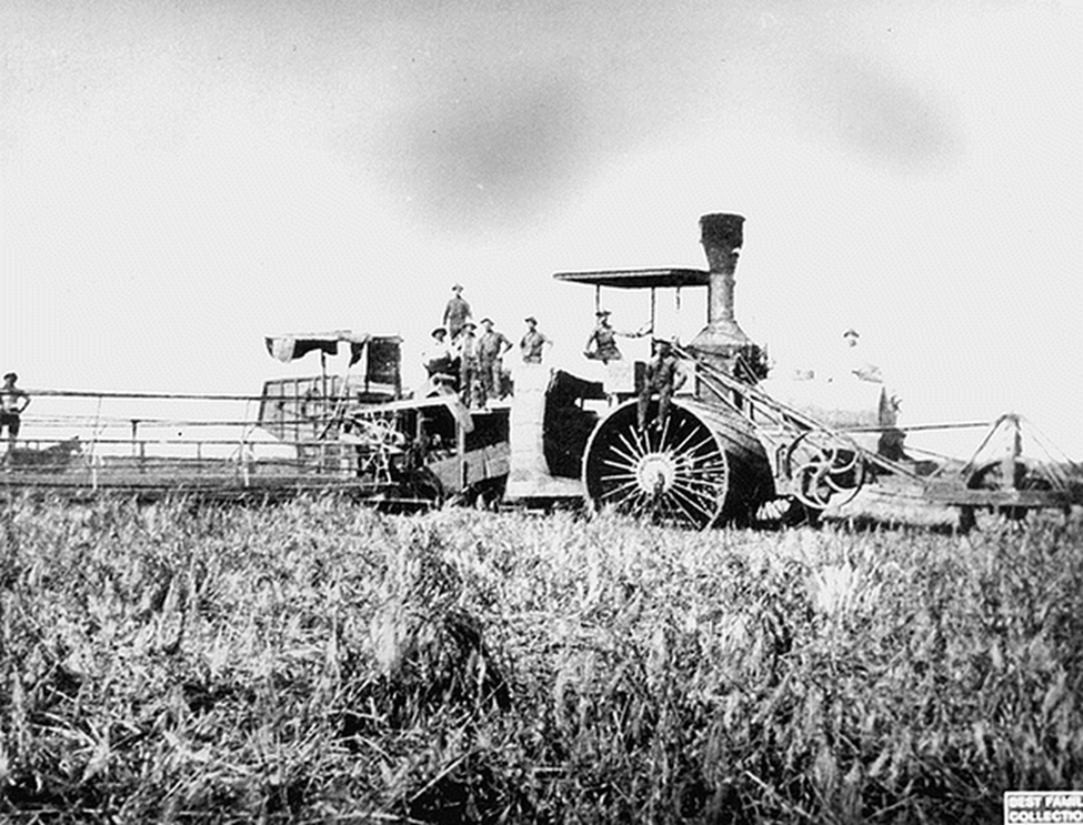 Period picture of huge farm equipment manufactured by Daniel Best Agriculture Works in the 1800s